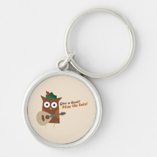 Give a hoot! Play the lute Silver-Colored Round Key Ring