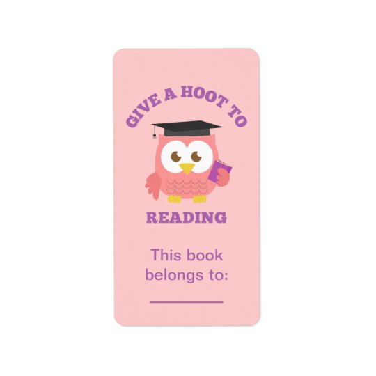 Give a Hoot to Reading, Book Owl Address Label