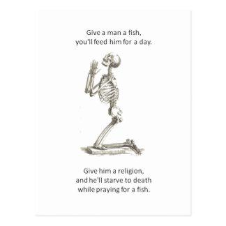 Give a Man  A Fish Postcard