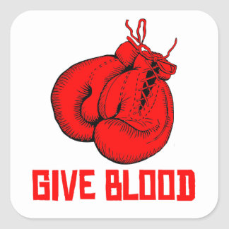 Give Blood Boxing Square Stickers