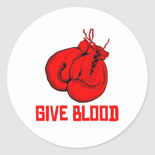 Give Blood Boxing Round Stickers
