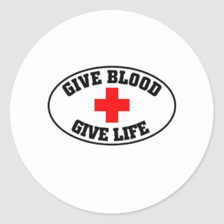 Give blood give life classic round sticker