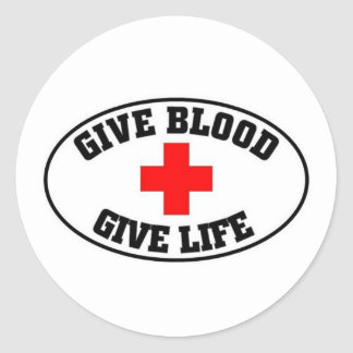 Give blood, give life round sticker