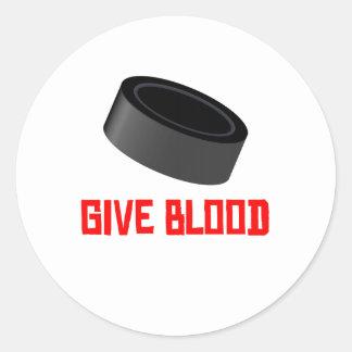 Give Blood Hockey Round Sticker