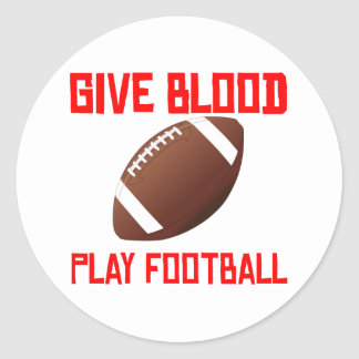 Give Blood Play Football Round Sticker