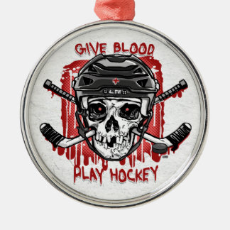 Give Blood Play Hockey Black Silver-Colored Round Decoration