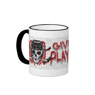 Give Blood Play Hockey Black Ringer Mug