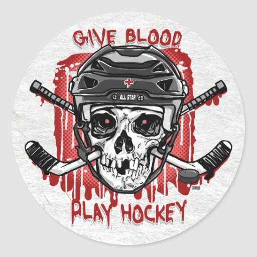 Give Blood Play Hockey Black Round Stickers