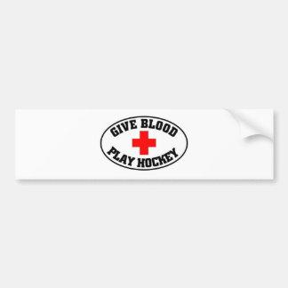 Give blood play hockey bumper sticker