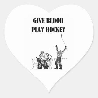 Give Blood Play Hockey Heart Sticker