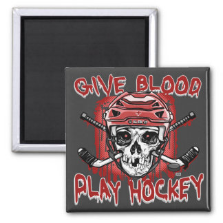 Give Blood Play Hockey Red Magnet
