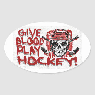 Give Blood Play Hockey Red Oval Sticker