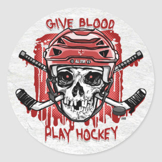 Give Blood Play Hockey Red Classic Round Sticker