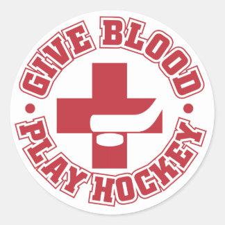 Give Blood, Play Hockey Round Sticker