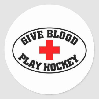 Give blood play hockey round sticker