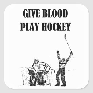 Give Blood Play Hockey Stickers