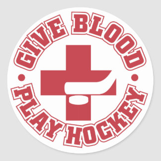 Give Blood, Play Hockey Round Sticker