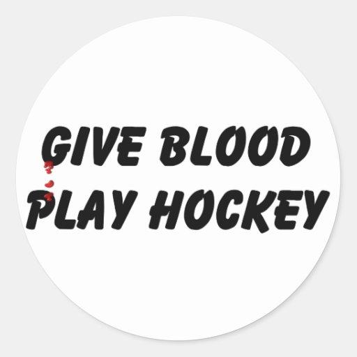 Give Blood Play Hockey Round Sticker