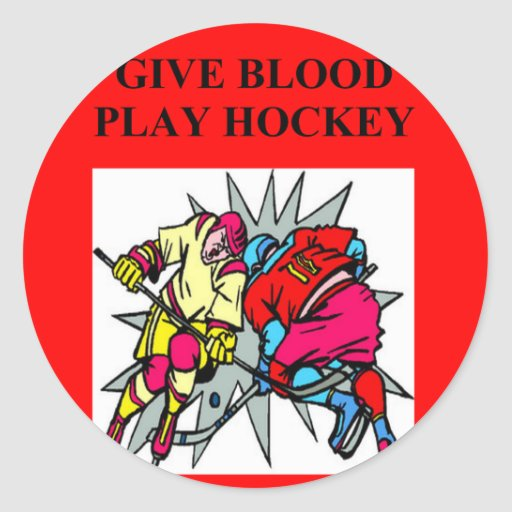 give blood play hockey round stickers
