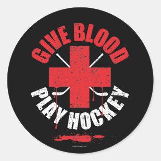 Give Blood Play Hockey v1 Round Sticker