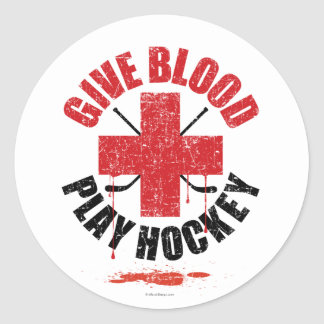 Give Blood Play Hockey v1 Classic Round Sticker