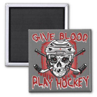 Give Blood Play Hockey White Magnets