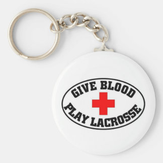 Give blood play Lacrosse Basic Round Button Key Ring