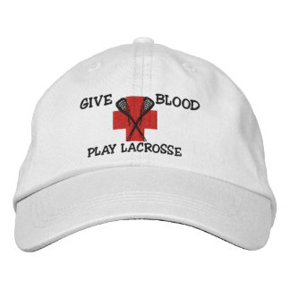 Give Blood Play Lacrosse Embroidered Cap