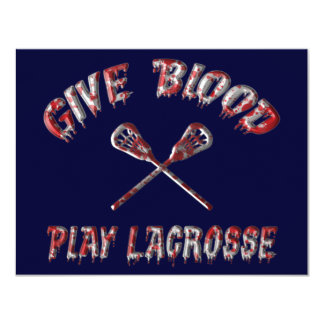 Give Blood, Play Lacrosse Party Invitations