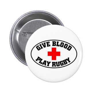 Give blood play Rugby 6 Cm Round Badge