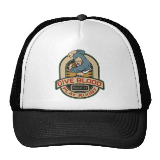 Give Blood Play Rugby Trucker Hat