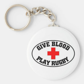 Give blood play Rugby Key Ring