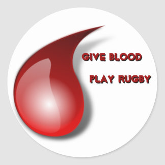 Give Blood, Play Rugby Round Sticker