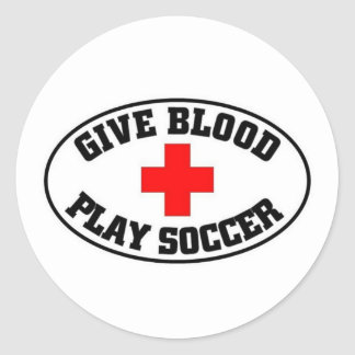 Give blood play Soccer Round Sticker