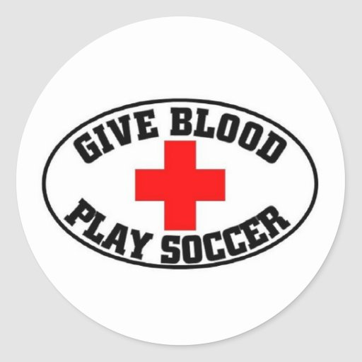 Give blood play soccer round stickers