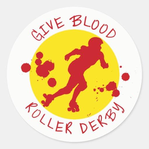 Give Blood Roller Derby Round Sticker