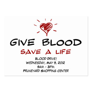 Give Blood Save A Life Blood Drive Chubby Template Pack Of Chubby Business Cards