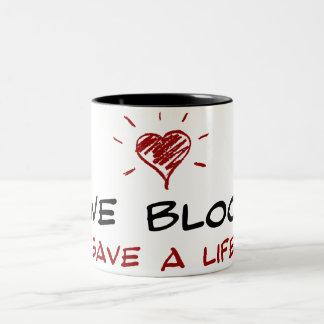 Give Blood Save A Life Two-Tone Coffee Mug