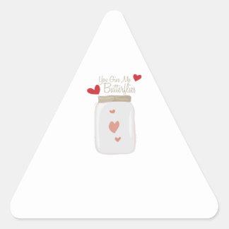 Give Butterflies Triangle Sticker