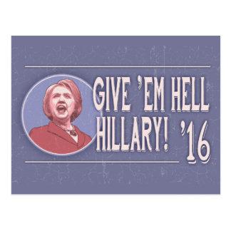 Give 'Em Hell, Hillary! Postcard