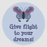 Give flight to your dreams! Butterfly Stitcker Round Sticker