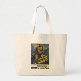 Give Him Wings World War II Jumbo Tote Bag