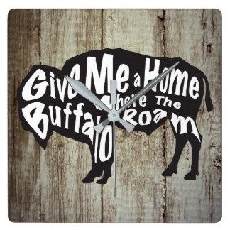 Give Me a Home Where Buffalo Roam Wall Clock