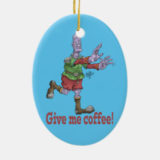 Give me coffee! Oval ceramic decoration. Ceramic Oval Decoration