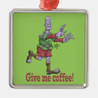 Give me coffee! Silver-Colored square decoration