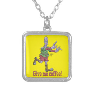 Give me coffee, Square pendant necklace.