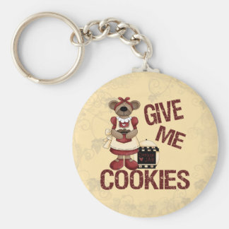Give Me Cookies Basic Round Button Key Ring