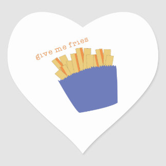 Give Me Fries Heart Stickers