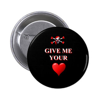 Give me your heart pirate clown 6 cm round badge
