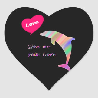 Give me your love_dolphin heart sticker